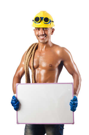 Naked construction worker on white Stock Photo - 16748926
