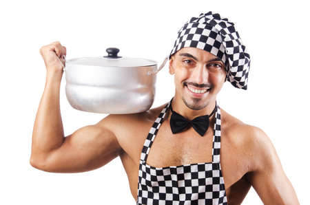 Sexy male cook isolated on the white Stock Photo - 16748934