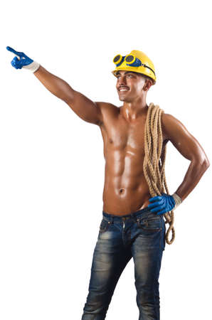 Naked construction worker on white photo
