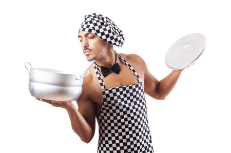 Sexy male cook isolated on the white Stock Photo - 16748775
