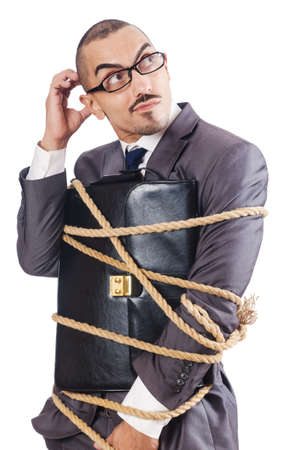 office slave: Businessman tied up with rope