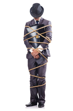 Businessman tied up with rope Stock Photo - 16723811
