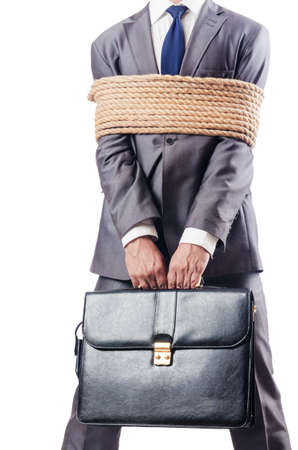 Man tied up with rope on white Stock Photo - 16721543