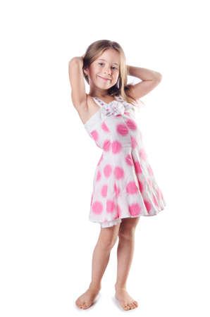 Cute little girl isolated on the white Stock Photo - 16748725