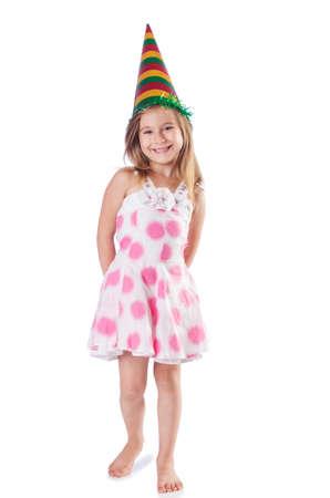 Little cute girl on white Stock Photo - 16748704