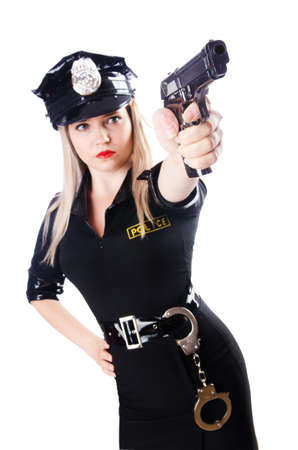 Woman police isolated on the white Stock Photo - 16748773