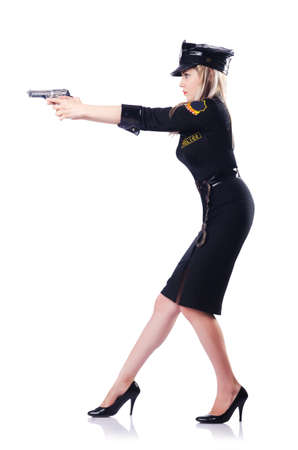 Woman police isolated on the white Stock Photo - 16748696