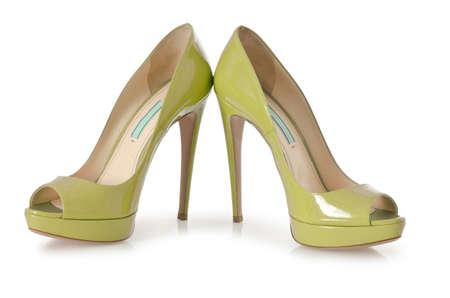 白で隔離される女性靴