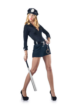 Woman police with baseball bat Stock Photo - 16748723