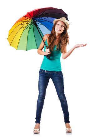 Young woman with colourful umbrella Stock Photo - 16748801