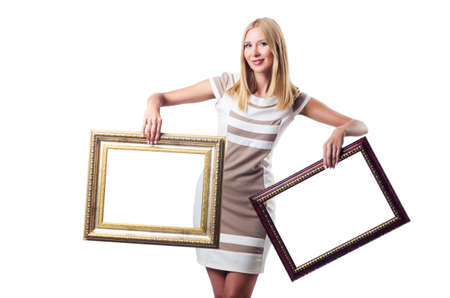 Woman with picture frame on white Stock Photo - 16748790