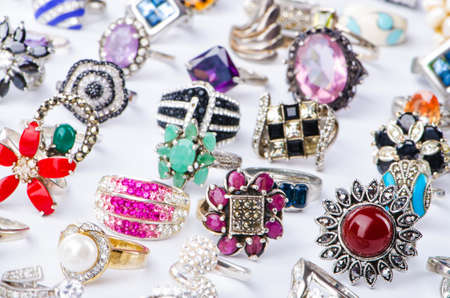 Collection of jewellery rings on white Stock Photo - 16821973