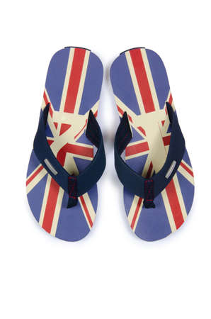 union beach: Flip flops with UK britain flag on white