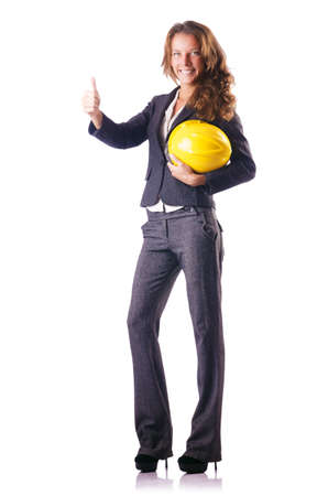 Woman construction worker with hard hat on white Stock Photo - 16925710