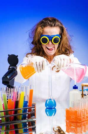 Funny female chemist in lab Stock Photo - 16934063