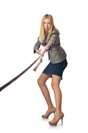 Businesswoman in tug of war concept Stock Photo - 16934084