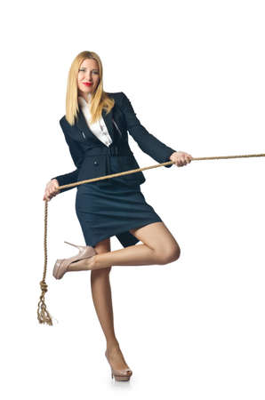 Businesswoman in tug of war concept photo