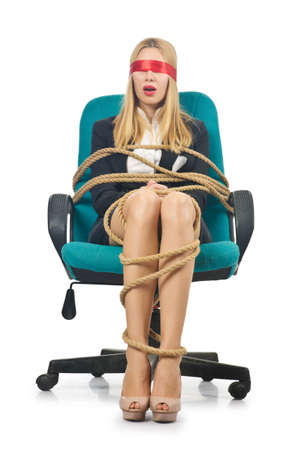 Businesswoman woman tied up with rope on white Stock Photo - 16934347