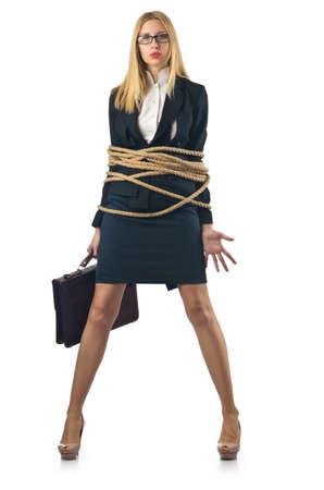 gefesselt: Tied Frau in Business-Konzept Lizenzfreie Bilder