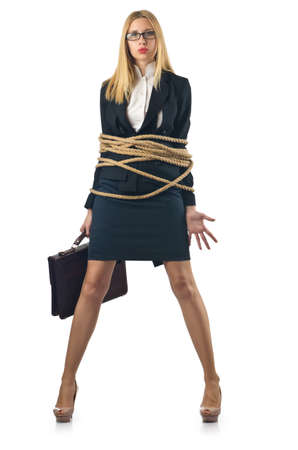 tied in: Tied woman in business concept
