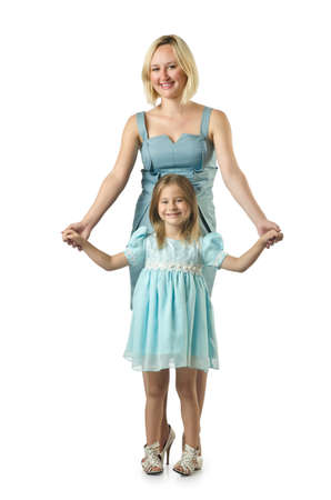Mother with daughter isolated on white Stock Photo - 16934184