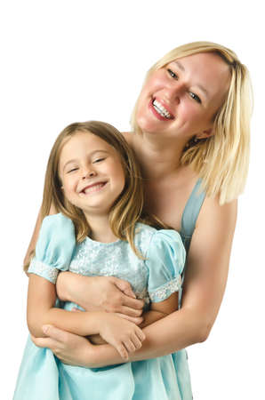 Mother with daughter isolated on white Stock Photo - 16934388