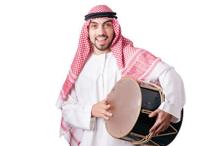 Arab man playing drum isolated on white Stock Photo - 16934342