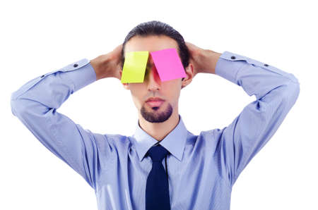 Man with lots of reminder notes Stock Photo - 16934387