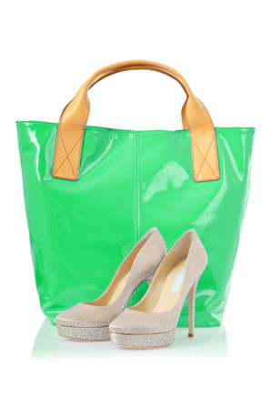 Elegant bag and shoes on white Stock Photo - 16821773