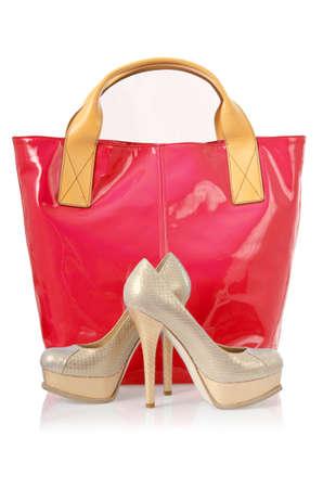 Elegant bag and shoes on white Stock Photo - 16821865