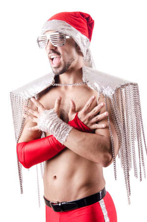 merry dancers: Dancing santa isolated on the white Stock Photo