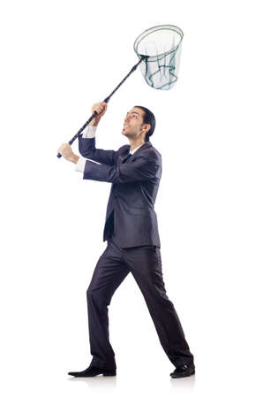 butterfly net: Businessman in business concept with net