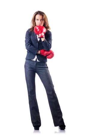 Woman businesswoman with boxing gloves on white Stock Photo - 16933619