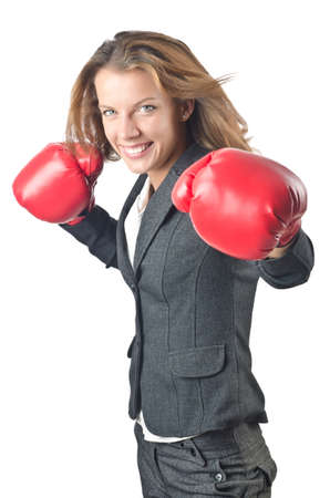 Young businesswoman in boxing concept Stock Photo - 16933611