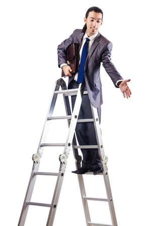 Businessman climbing career ladder on white photo