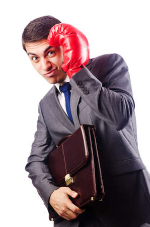 Businessman with boxing gloves on white Stock Photo - 16922561