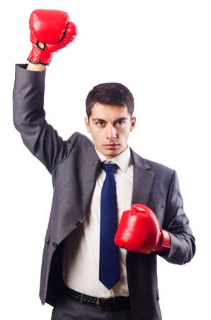 Businessman with boxing gloves on white Stock Photo - 16922565