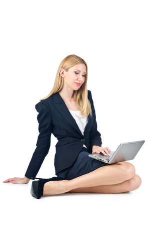 Businesswoman sitting on floor with laptop Stock Photo - 16933955