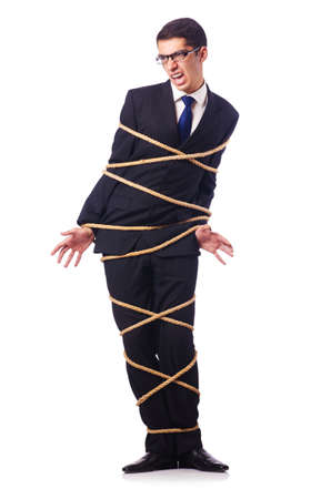 Businessman tied up with rope on white Stock Photo - 16933759