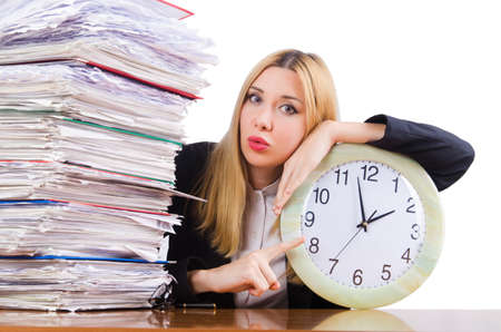 Busy woman with clock on white Stock Photo - 16934538