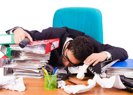 Busy stressed man in the office Stock Photo - 16933992