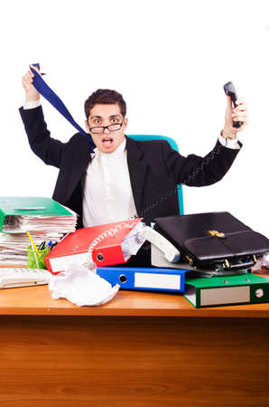 Busy stressed man in the office Stock Photo - 16933986