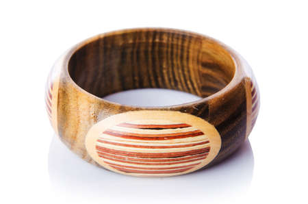 Wooden bracelet isolated on the white Stock Photo - 16834490