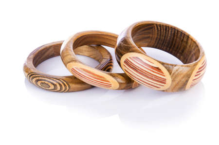 Wooden bracelet isolated on the white Stock Photo - 16834228