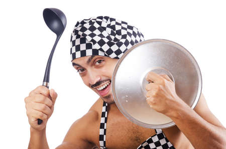 Sexy male cook isolated on the white Stock Photo - 16934277