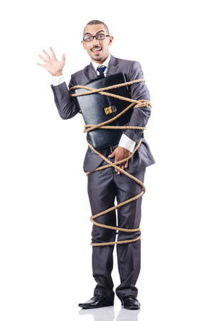 Businessman tied up with rope Stock Photo - 16934076