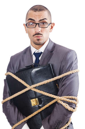 Businessman tied up with rope Stock Photo - 16934220