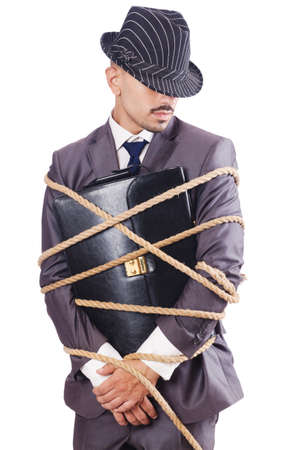 Man tied up with rope on white Stock Photo - 16934533