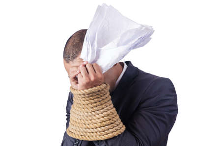 Businessman tied up with rope Stock Photo - 16834483