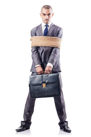 Man tied up with rope on white Stock Photo - 16934486